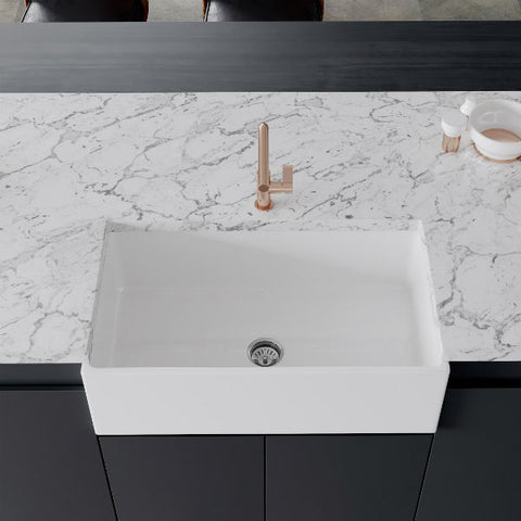 "Image of Crestwood CW-MOD-33 33"" White Modern Single Bowl Smooth Fireclay Farmhouse Sink - Annie & Oak"