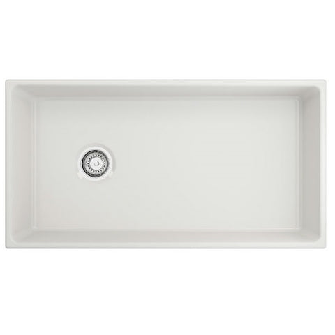 "Image of Crestwood CW-MOD-36 36"" White Modern Single Bowl Smooth Fireclay Farmhouse Sink - Annie & Oak"