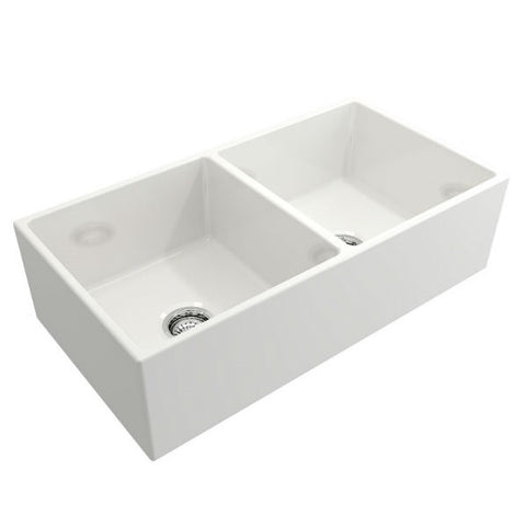 "Crestwood CW-MOD-362-DB 36"" White Modern Double Bowl Smooth Fireclay Farmhouse Sink - Annie & Oak"