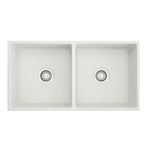 "Image of Crestwood CW-MOD-362-DB 36"" White Modern Double Bowl Smooth Fireclay Farmhouse Sink - Annie & Oak"