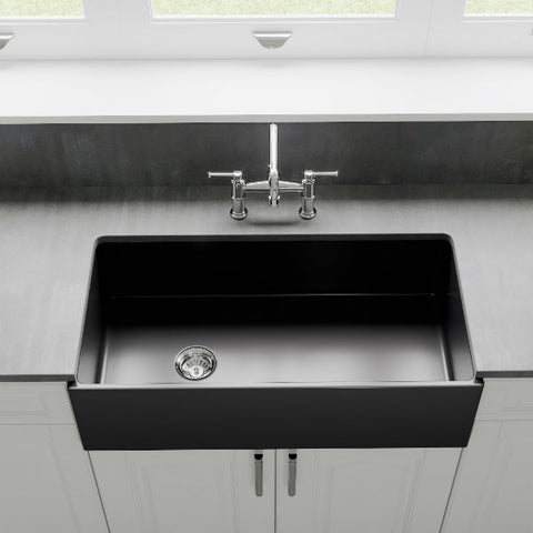 "Crestwood CW-MOD-36 36"" Charcoal Modern Single Bowl Smooth Fireclay Farmhouse Sink - Annie & Oak"