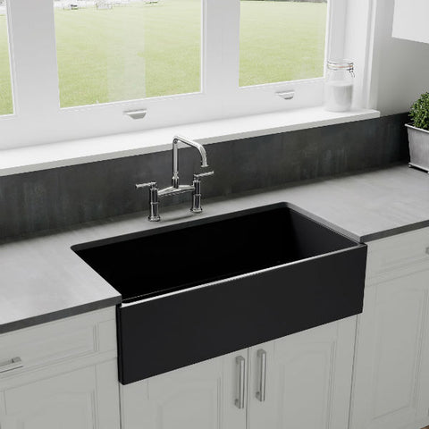 "Crestwood CW-MOD-36 36"" Charcoal Modern Single Bowl Smooth Fireclay Farmhouse Sink-Annie & Oak"