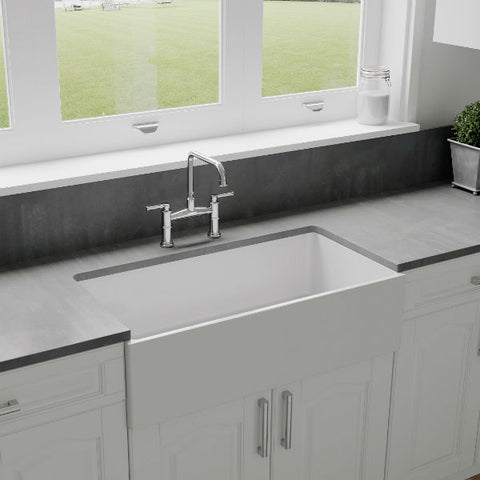 "Crestwood CW-MOD-36 36"" White Modern Single Bowl Smooth Fireclay Farmhouse Sink-Annie & Oak"