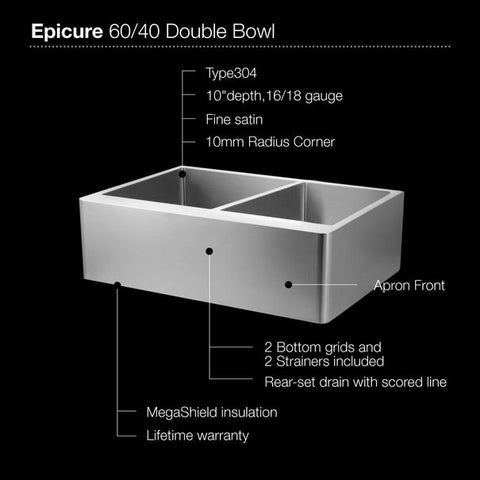 "Image of Houzer END-3360SR 33"" Double Bowl Stainless Steel Farmhouse Sink"