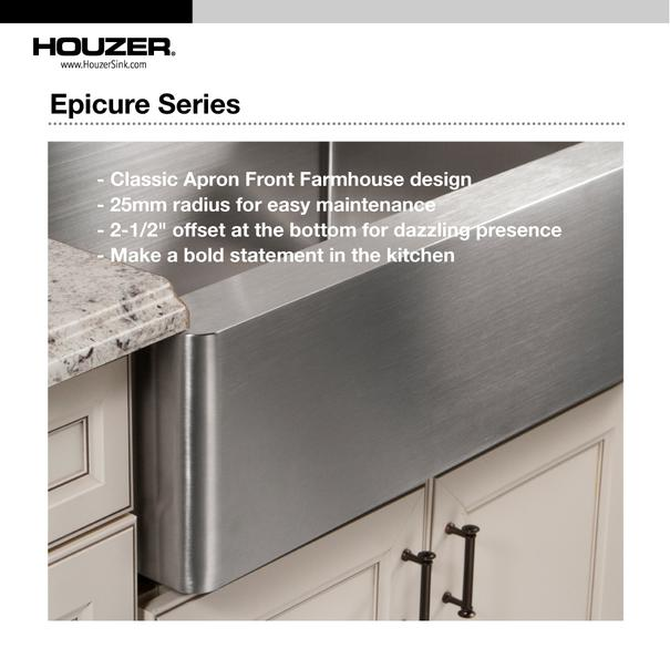 "Houzer END-3360SR 33"" Double Bowl Stainless Steel Farmhouse Sink"