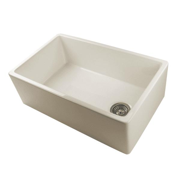 "Nantucket FCFS30B 30"" Bisque Single Bowl Fireclay Farmhouse Sink with Grid - Annie & Oak"