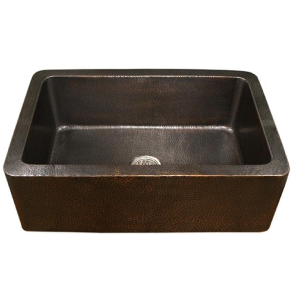 "Houzer HW-COP11 32"" Hammered Single Bowl Copper Farmhouse Sink"