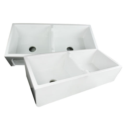 "Nantucket Hyannis-39-DBL 39"" White Double Bowl Fireclay Farmhouse Sink - Annie & Oak"