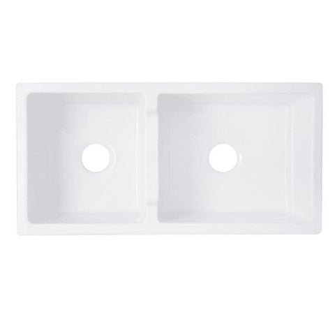 "Image of Nantucket Hyannis-36-DBL 36"" White 60/40 Double Bowl Fireclay Farmhouse Sink - Annie & Oak"