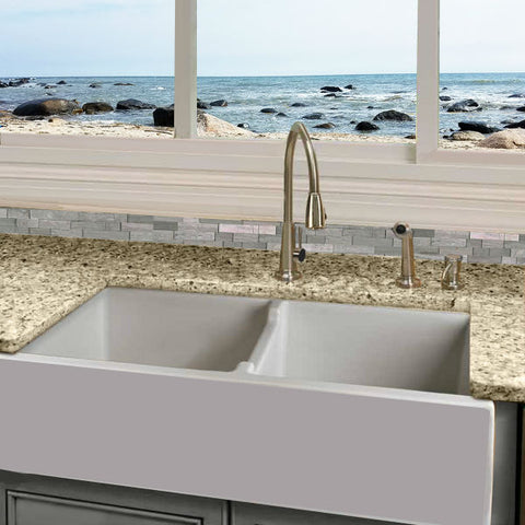 "Image of Nantucket Hyannis-39-DBL 39"" White Double Bowl Fireclay Farmhouse Sink - Annie & Oak"