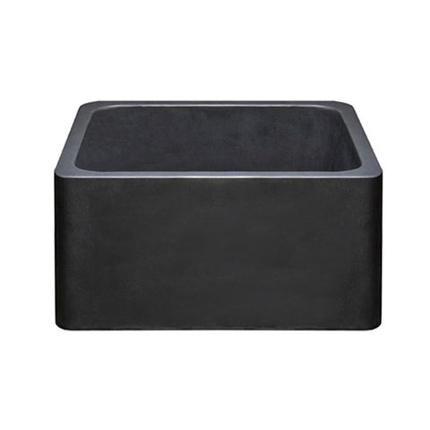 "Allstone KF171710-BB 17"" Black Basalt Single Bowl Straight Front Stone Farmhouse Sink"