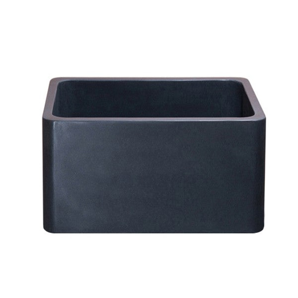 "Allstone KF171710-BL 17"" Black Lava Single Bowl Straight Front Stone Farmhouse Sink"