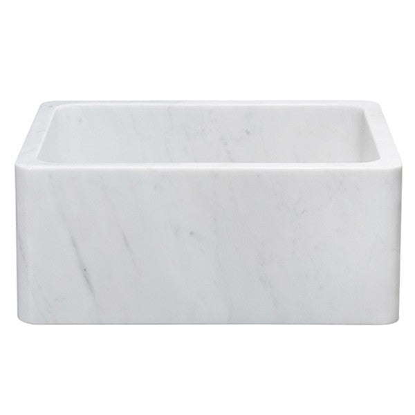 "Allstone KF242010 24"" Carrara White Straight Front Single Bowl Stone Farmhouse Sink"