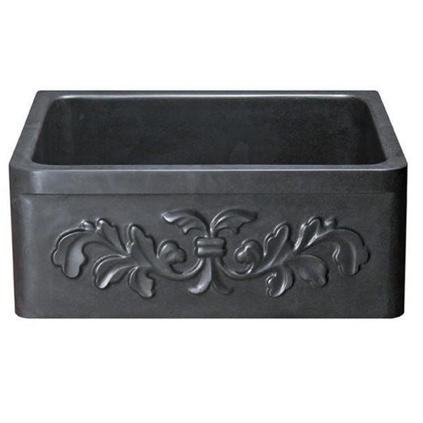 "Allstone KF242010-F2 24"" Black Basalt Floral Carving Front Single Bowl Stone Farmhouse Sink"