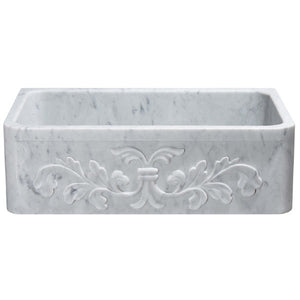 "Allstone KF332010SB-F2 33"" Carrara White Floral Carving Single Bowl Stone Farmhouse Sink"