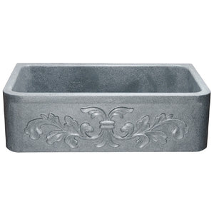 "Copy of Allstone KF332010SB-F2 33"" Mercury Granite Floral Carving Single Bowl Stone Farmhouse Sink"