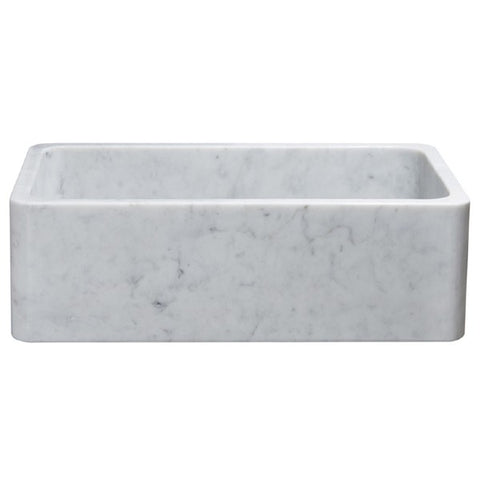 "Allstone KF332010SB 33"" Carrara White Straight Single Bowl Stone Farmhouse Sink"