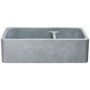 "Allstone KF362010DB-NLP 36"" Mercury Granite Straight Double Bowl Stone Farmhouse Sink"
