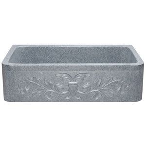 "Allstone KF362010SB-F2 36"" Mercury Granite Floral Carving Single Bowl Stone Farmhouse Sink"