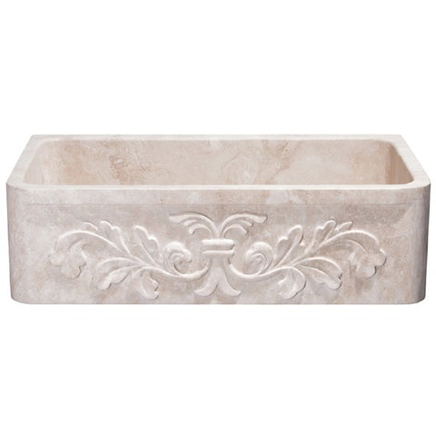 "Allstone KF362010SB-F2 36"" Roma Travertine Floral Carving Single Bowl Stone Farmhouse Sink"