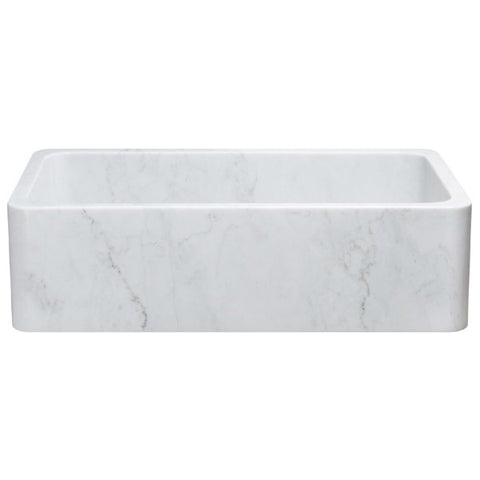 "Allstone KF362010SB-NLP 36"" Carrara White Straight Single Bowl Stone Farmhouse Sink"