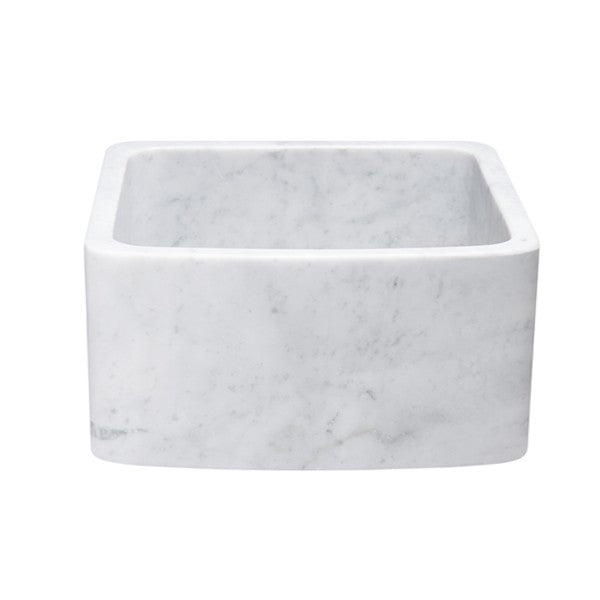 "Allstone KFCF171810-CW 17"" Carrara White Curved Single Bowl Stone Farmhouse Sink"