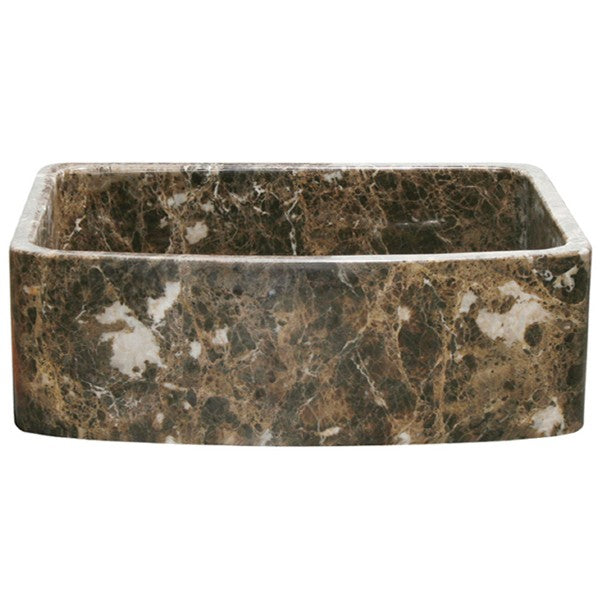 "Allstone KFCF302210SB 30"" Dark Marble Curved Single Bowl Stone Farmhouse Sink"