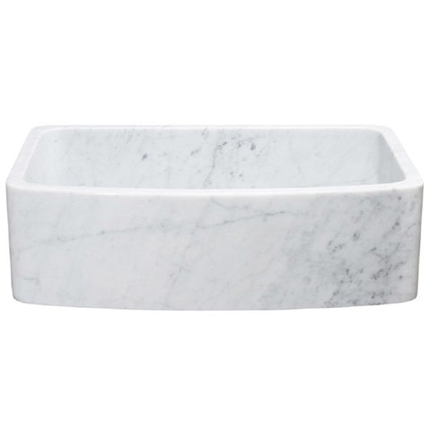 "Allstone KFCF332210SB 33"" Carrara White Curved Single Bowl Stone Farmhouse Sink"