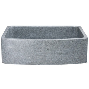 "Allstone KFCF332210SB 33"" Mercury Granite Curved Single Bowl Stone Farmhouse Sink"