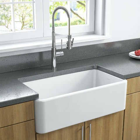 Image of Latoscana LFS3318W White Fireclay Farmhouse Sink smooth design wood finish cabinet