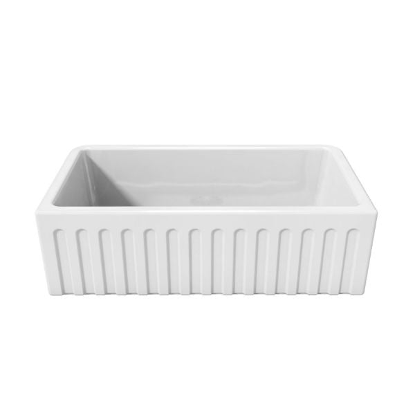 Latoscana LFS3318W White Fireclay Farmhouse Sink fluted design sink only white background