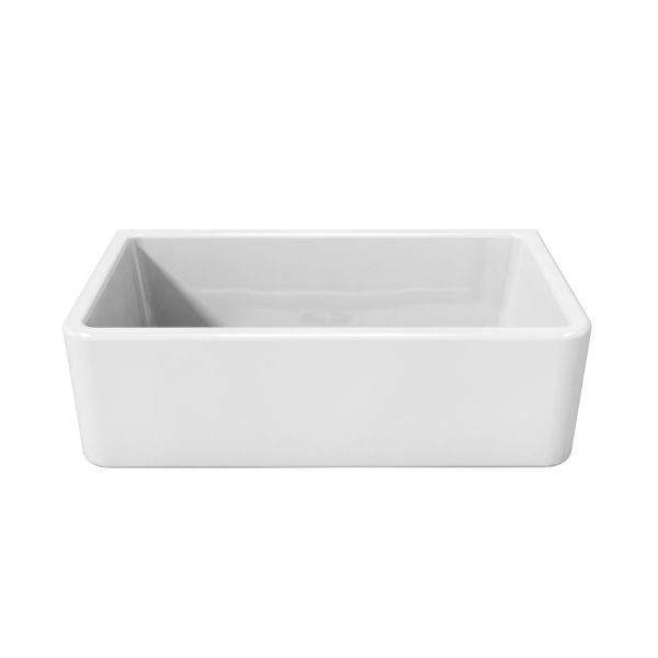 Latoscana LFS3318W White Fireclay Farmhouse Sink smooth design sink only white background