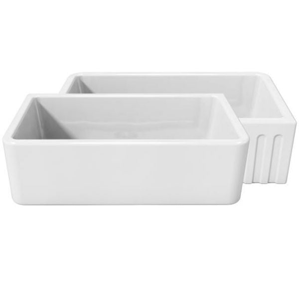 Latoscana LFS3318W Fireclay Farmhouse Sink White background with both sinks