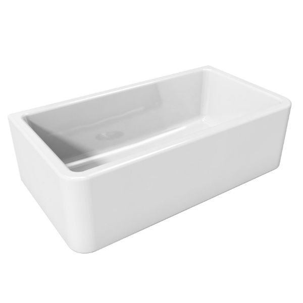 Side view Latoscana LFS3318W White Fireclay Farmhouse Sink only with white background