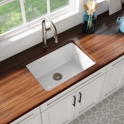 "Latoscana LUM2719W 27"" White Single Bowl Fireclay Drop-in or Undermount Sink"