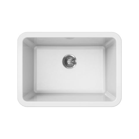 "Image of Latoscana LUM2719W 27"" White Single Bowl Fireclay Drop-in or Undermount Sink"