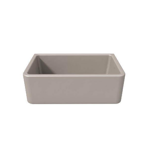 "Latoscana LFS3018F 30"" Silver Reversible Smooth or Fluted Fireclay Farmhouse Sink"
