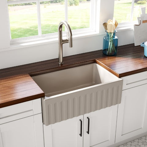 "Image of Latoscana LFS3018F 30"" Silver Reversible Smooth or Fluted Fireclay Farmhouse Sink"
