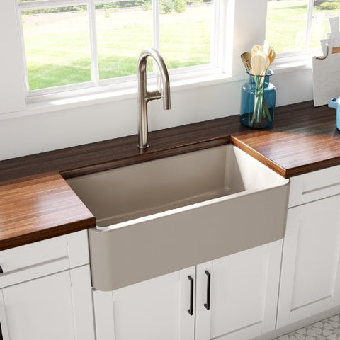 "Latoscana LFS3318SF 33"" Silver Single Bowl Reversible Fireclay Farmhouse Sink"