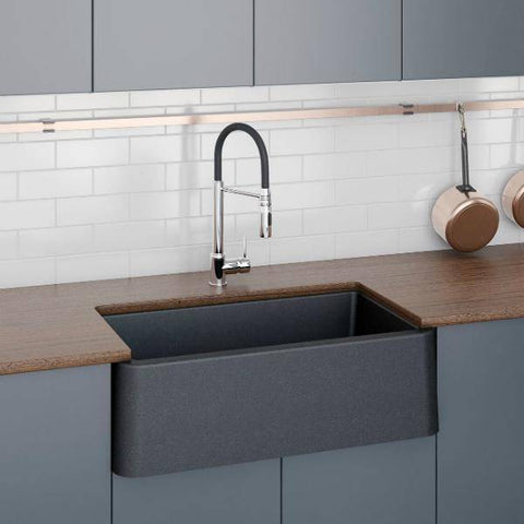 Image of Latoscana 30 Farmhouse Sink Black Metallic Granite LA3019B-Annie & Oak
