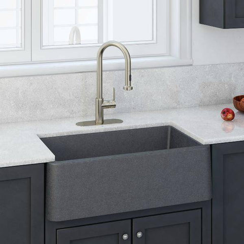 "Latoscana LA3019T 30"" Titanium Gray Metallic Granite Farmhouse Sink - Annie & Oak"