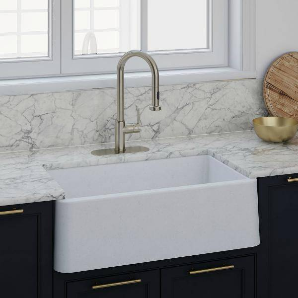 "Latoscana LA3019W 30"" White Metallic Granite Farmhouse Sink - Annie & Oak"