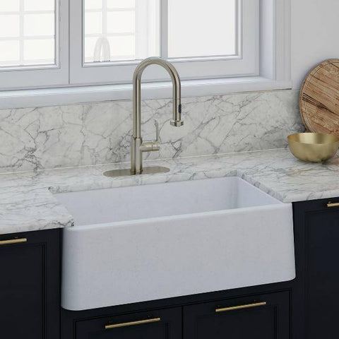Image of Latoscana 30 Farmhouse Sink White Metallic Granite LA3019W-Annie & Oak