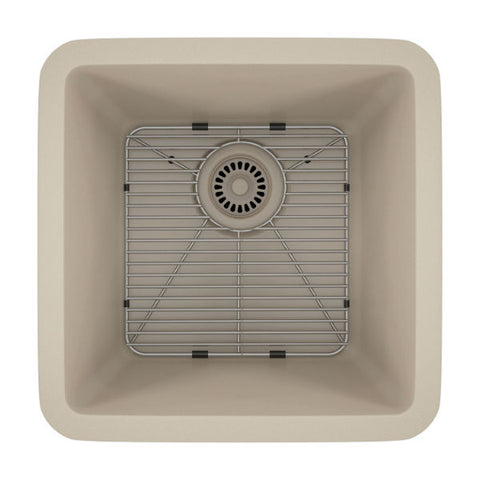 "Image of Lexicon Platinum 15"" Beige Quartz Single Composite Sink w/ Grid LP-1515 - Annie & Oak"