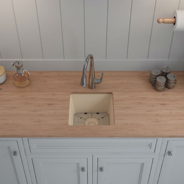 "Lexicon Platinum 15"" Beige Quartz Single Composite Sink w/ Grid LP-1515-Annie & Oak"