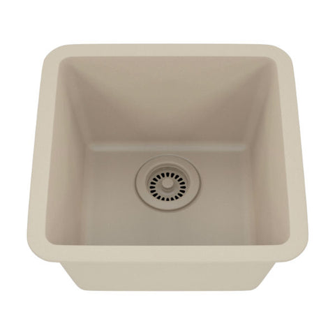 "Lexicon Platinum 15"" Beige Quartz Single Composite Sink w/ Grid LP-1515 - Annie & Oak"