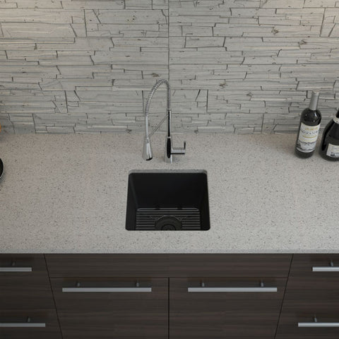"Image of Lexicon Platinum 15"" Black Quartz Single Composite Sink w/ Grid LP-1515 - Annie & Oak"