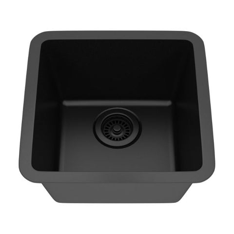 "Lexicon Platinum 15"" Black Quartz Single Composite Sink w/ Grid LP-1515 - Annie & Oak"