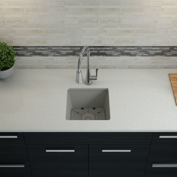 "Lexicon Platinum 15"" Concrete Quartz Single Composite Sink w/ Grid LP-1515 - Annie & Oak"