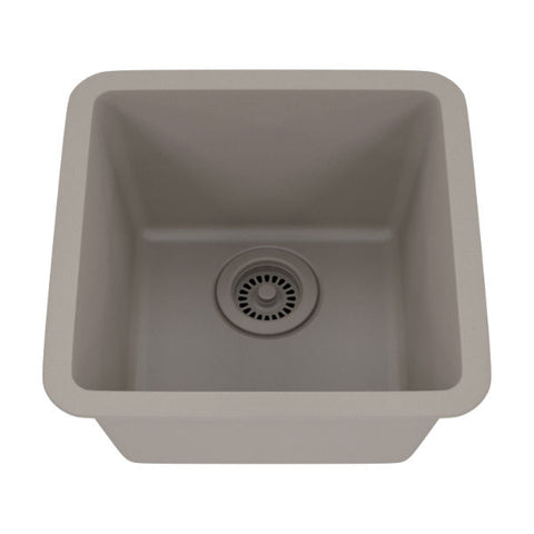 "Image of Lexicon Platinum 15"" Concrete Quartz Single Composite Sink w/ Grid LP-1515 - Annie & Oak"